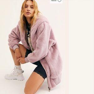 Free people Turn up zip off faux fur coat JACKET